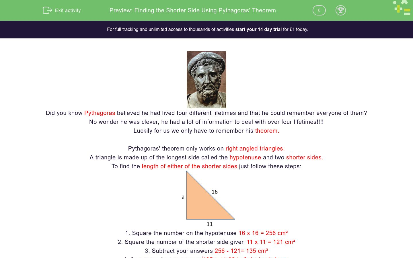 'Finding the Shorter Side Using Pythagoras' Theorem' worksheet