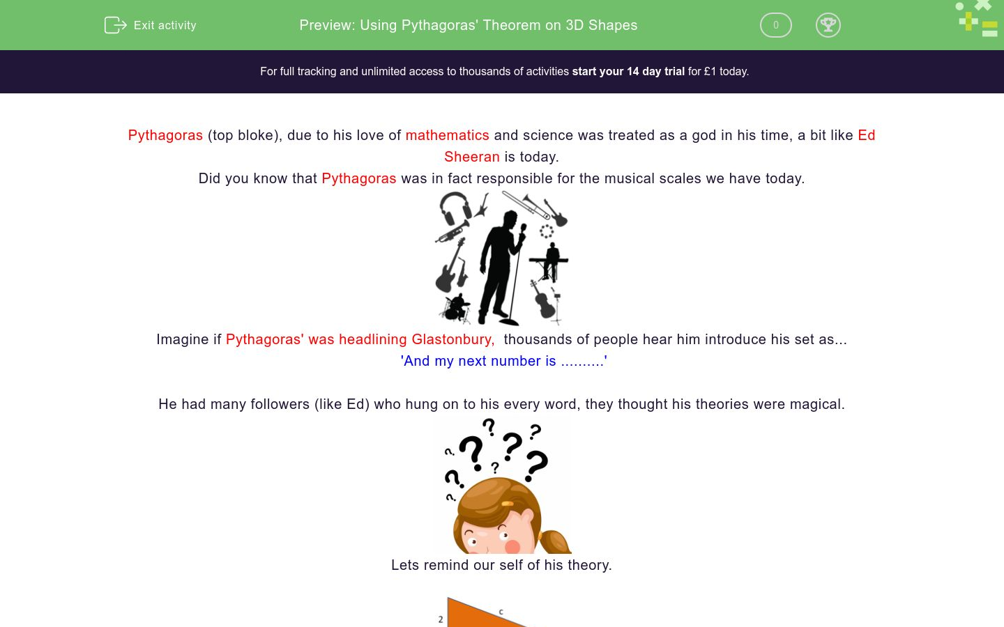'Using Pythagoras' Theorem on 3D Shapes' worksheet