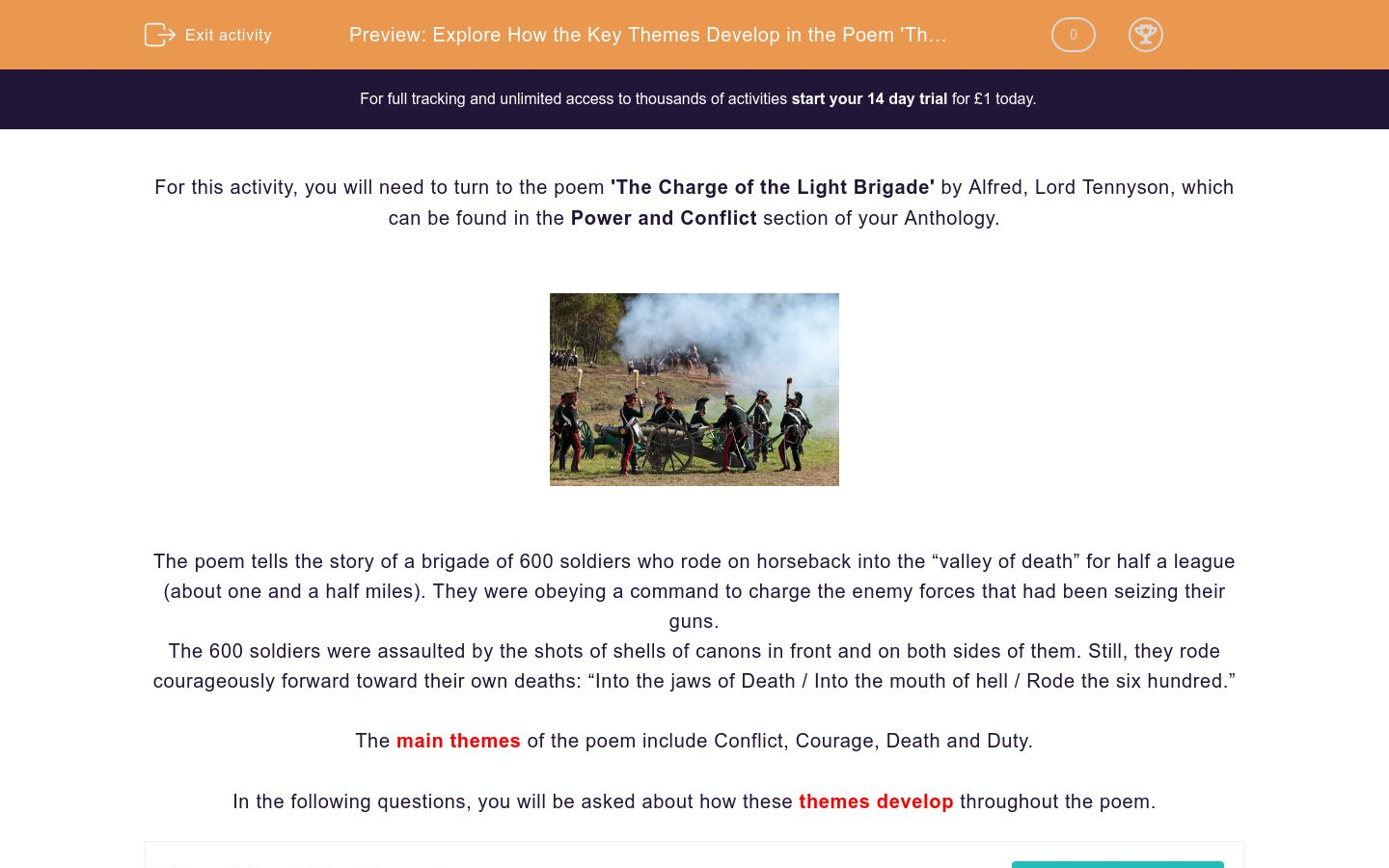 'Explore How the Key Themes Develop in the Poem 'The Charge of the Light Brigade' by Alfred Lord Tennyson' worksheet
