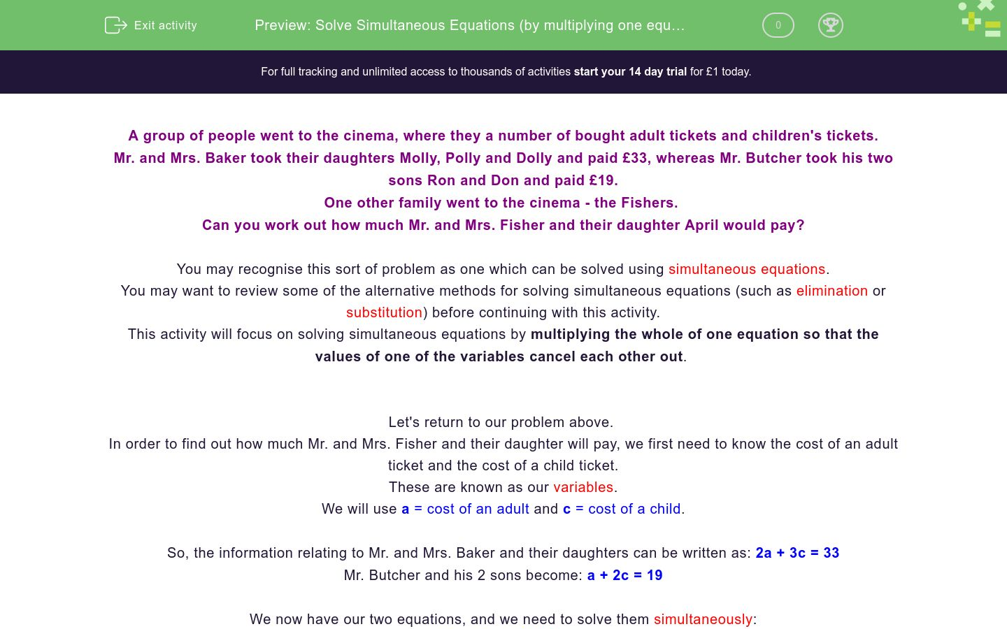 'Solve Simultaneous Equations (by multiplying one equation)' worksheet