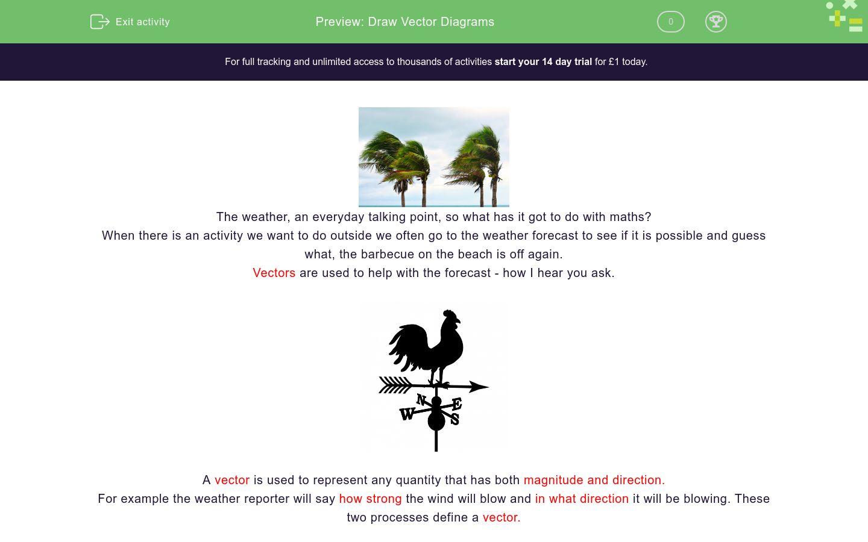 'Understand and Draw Vectors' worksheet