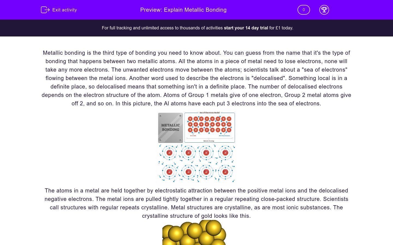 'Explain Metallic Bonding' worksheet
