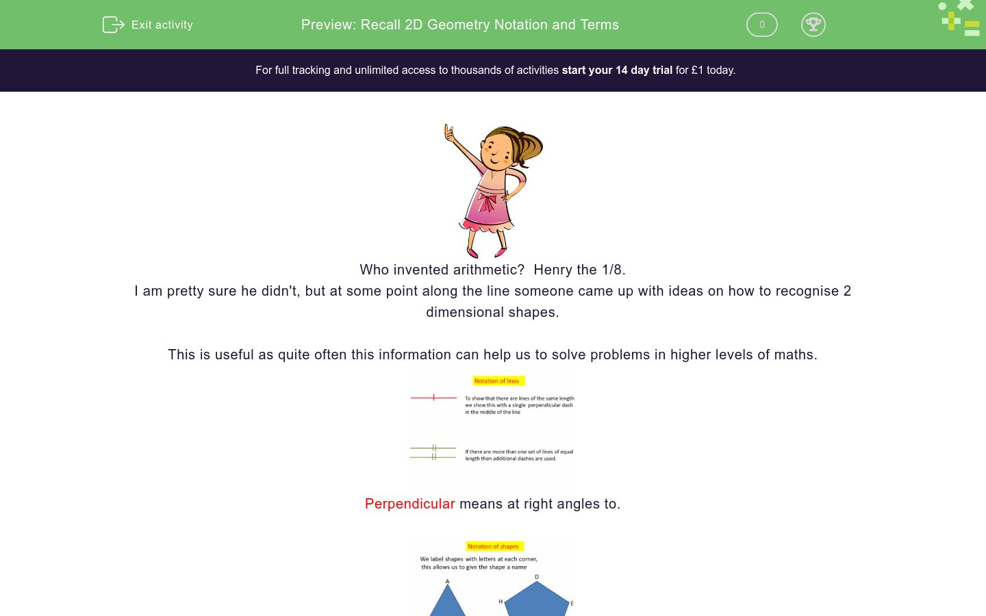 'Recall 2D Geometry Notation and Terms' worksheet