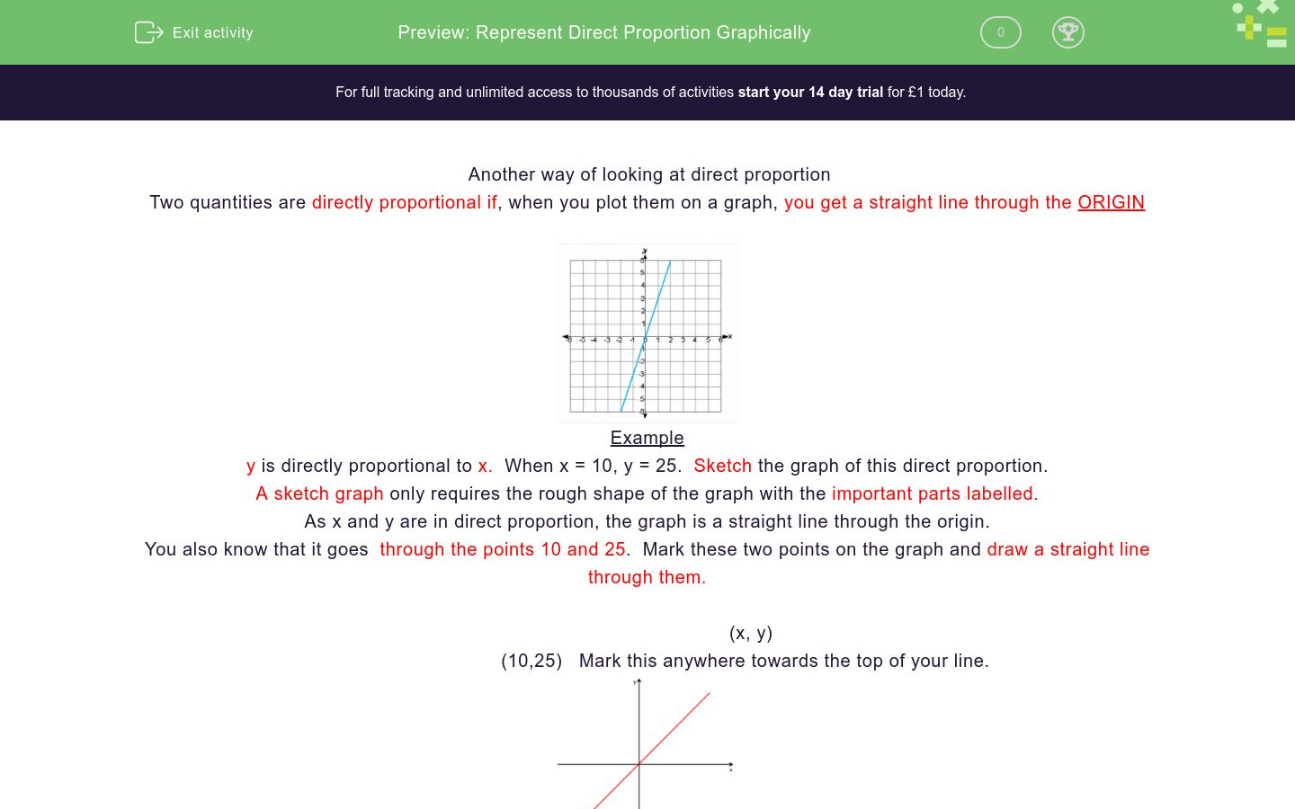 'Represent Direct Proportion Graphically' worksheet