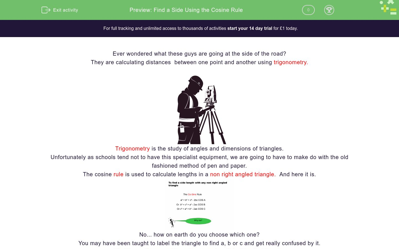 'Find a Side Using the Cosine Rule' worksheet
