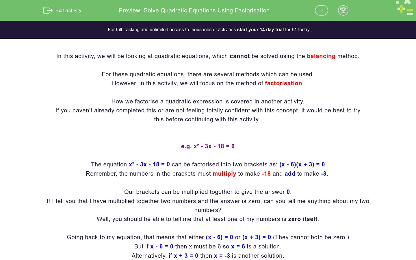 'Solve Quadratic Equations Using Factorisation' worksheet