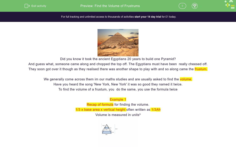 'Find the Volume of Frustums' worksheet
