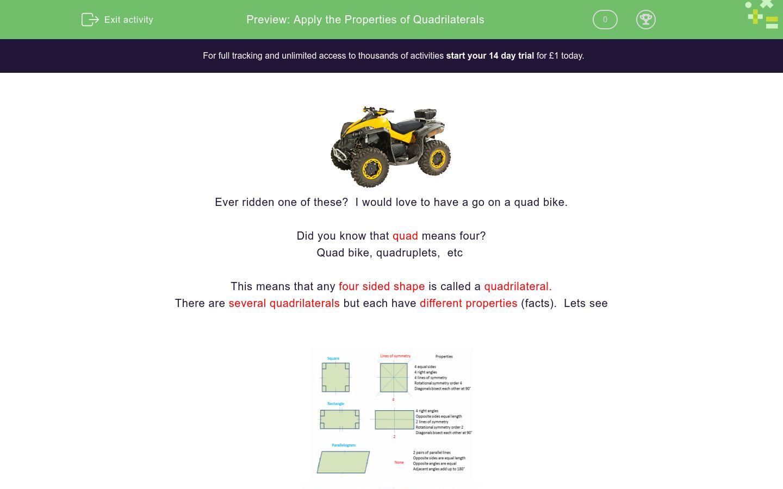 'Apply the Properties of Quadrilaterals' worksheet
