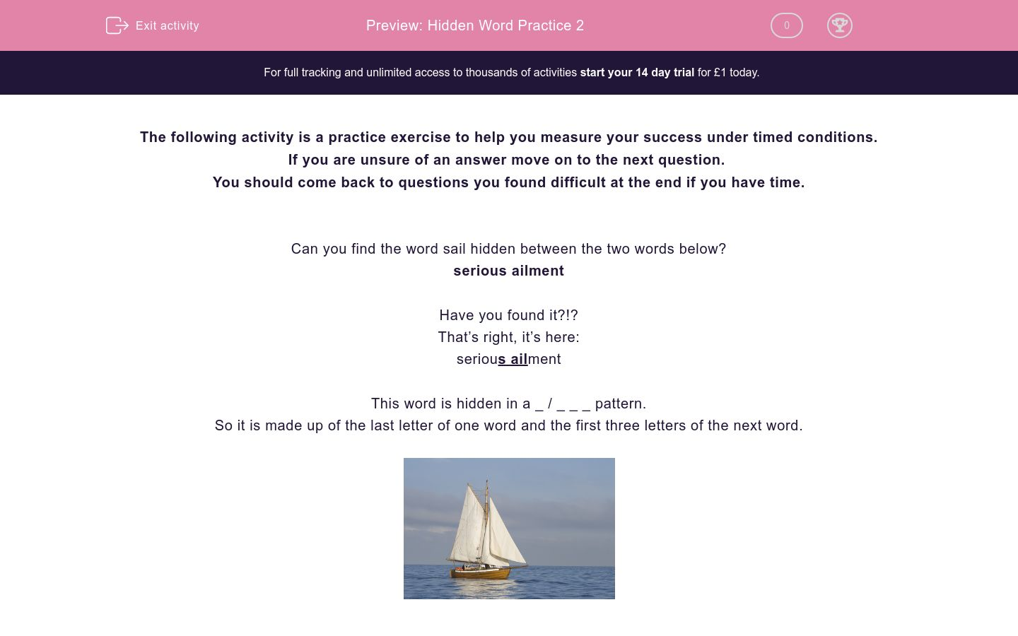 'Hidden Word Practice 2' worksheet