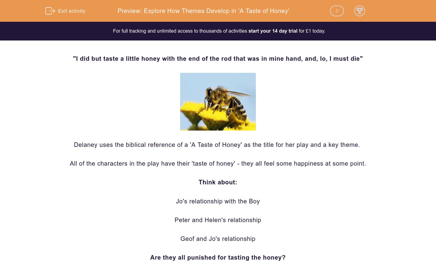 'Explore How Themes Develop in 'A Taste of Honey'' worksheet