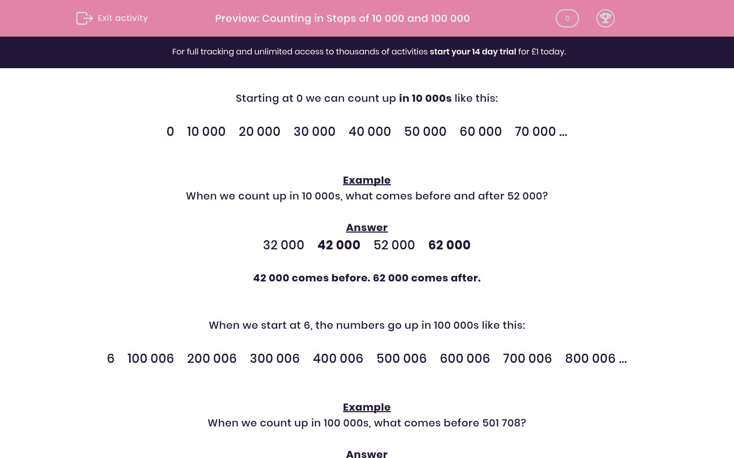 'Counting in Steps of 10 000 and 100 000' worksheet