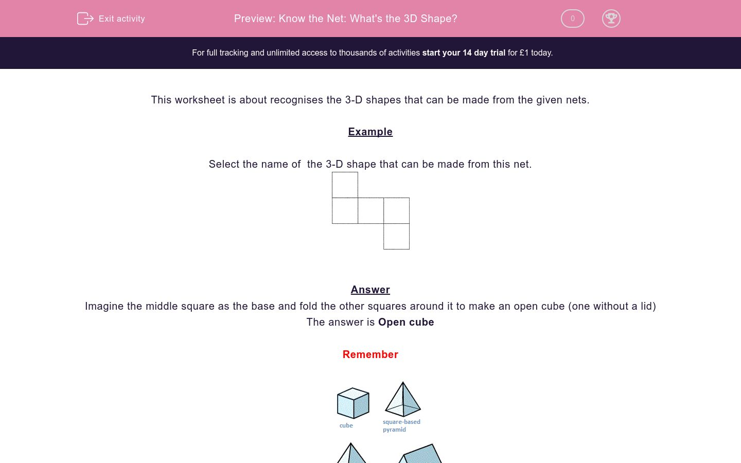 'Know the Net: What's  the 3D Shape?' worksheet
