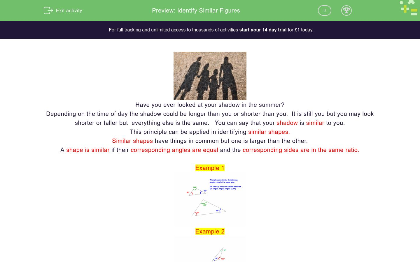 'Identify Similar Figures' worksheet