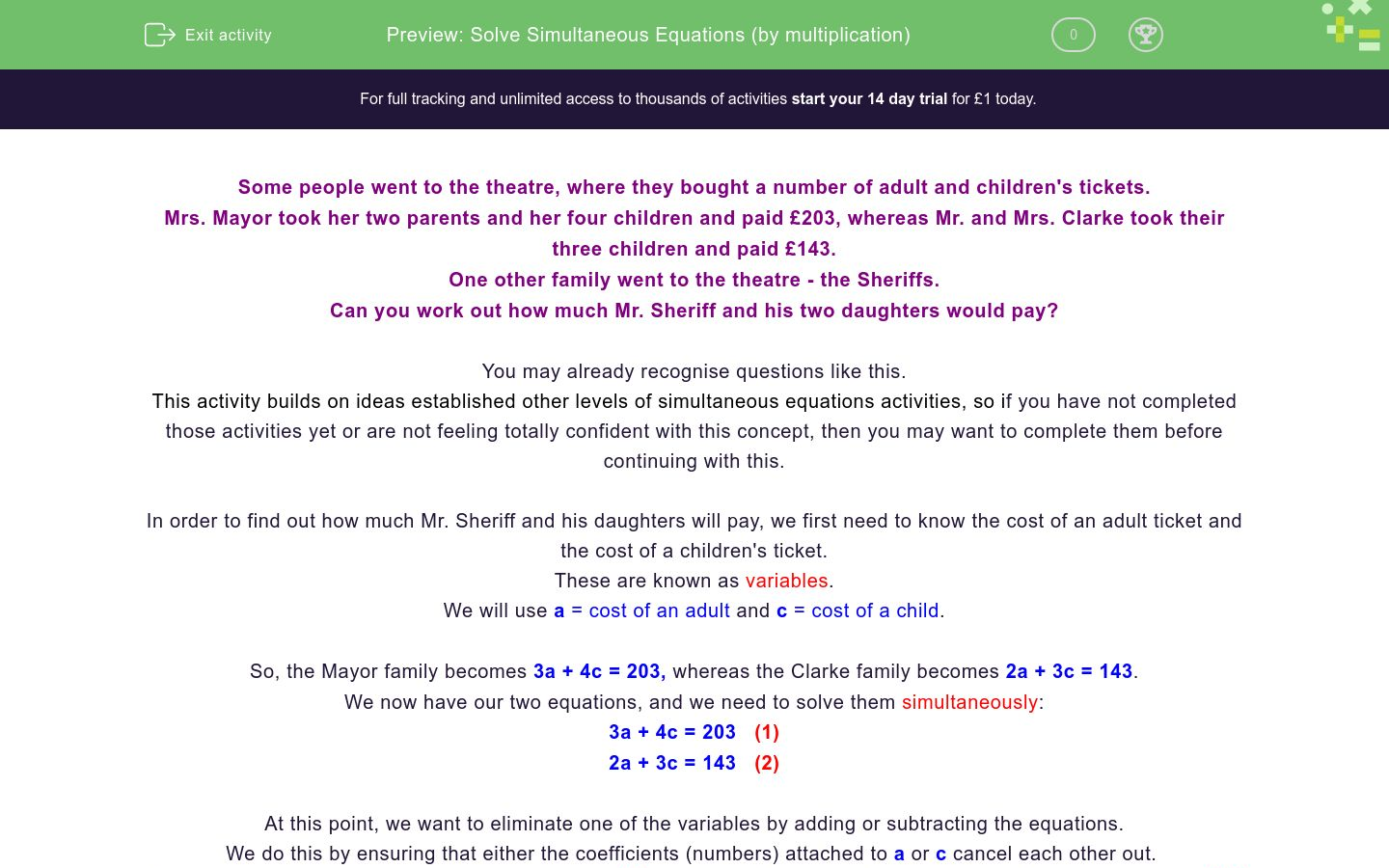 'Solve Simultaneous Equations (by multiplication)' worksheet