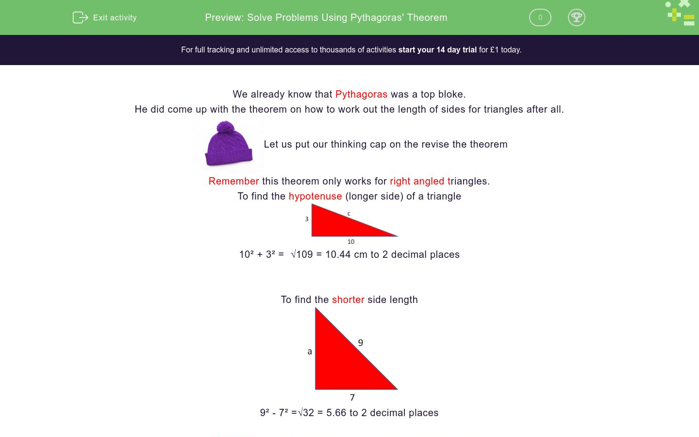 'Solve Problems Using Pythagoras' Theorem' worksheet