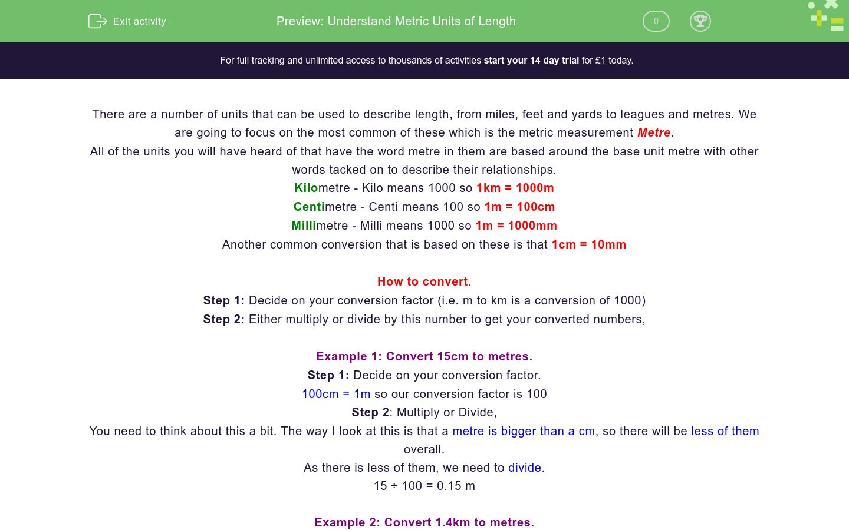 'Understand Metric Units of Length' worksheet
