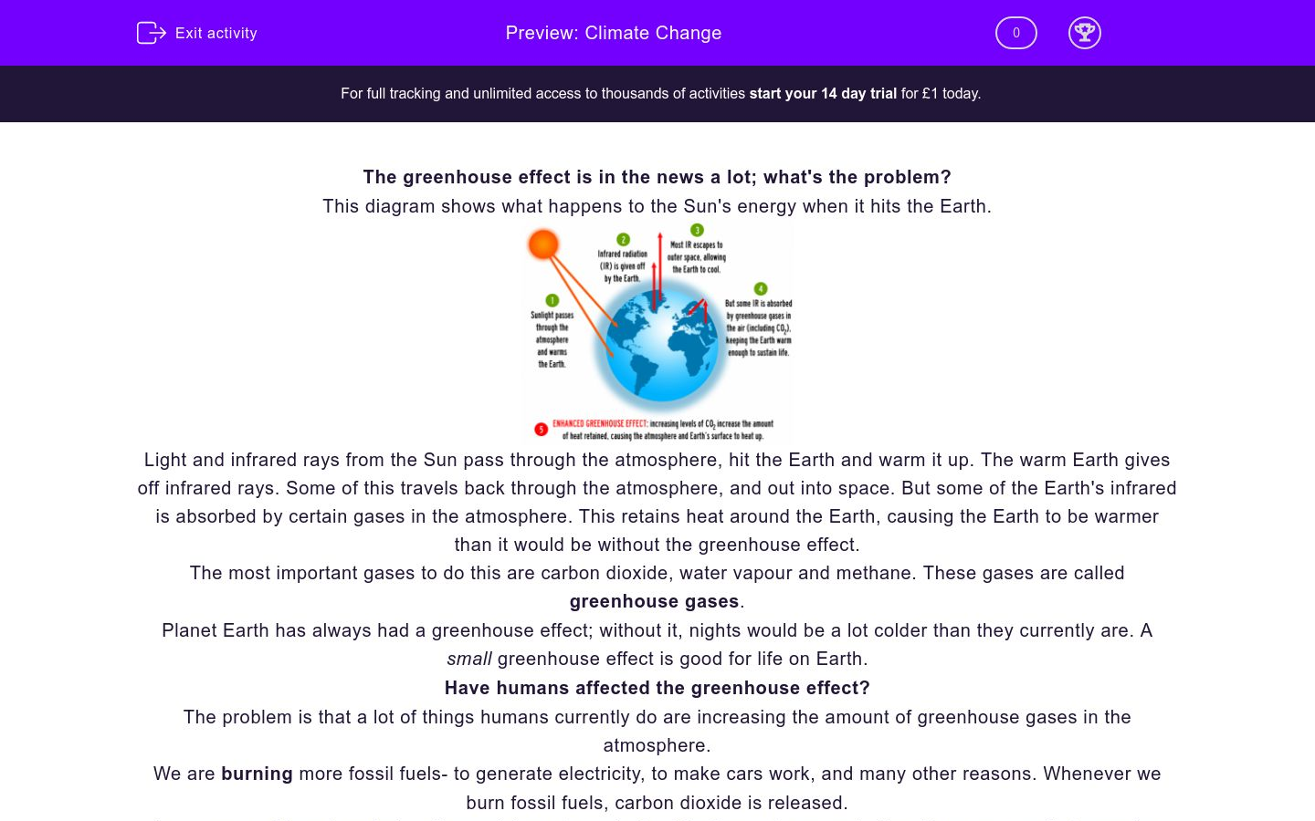'Climate Change' worksheet
