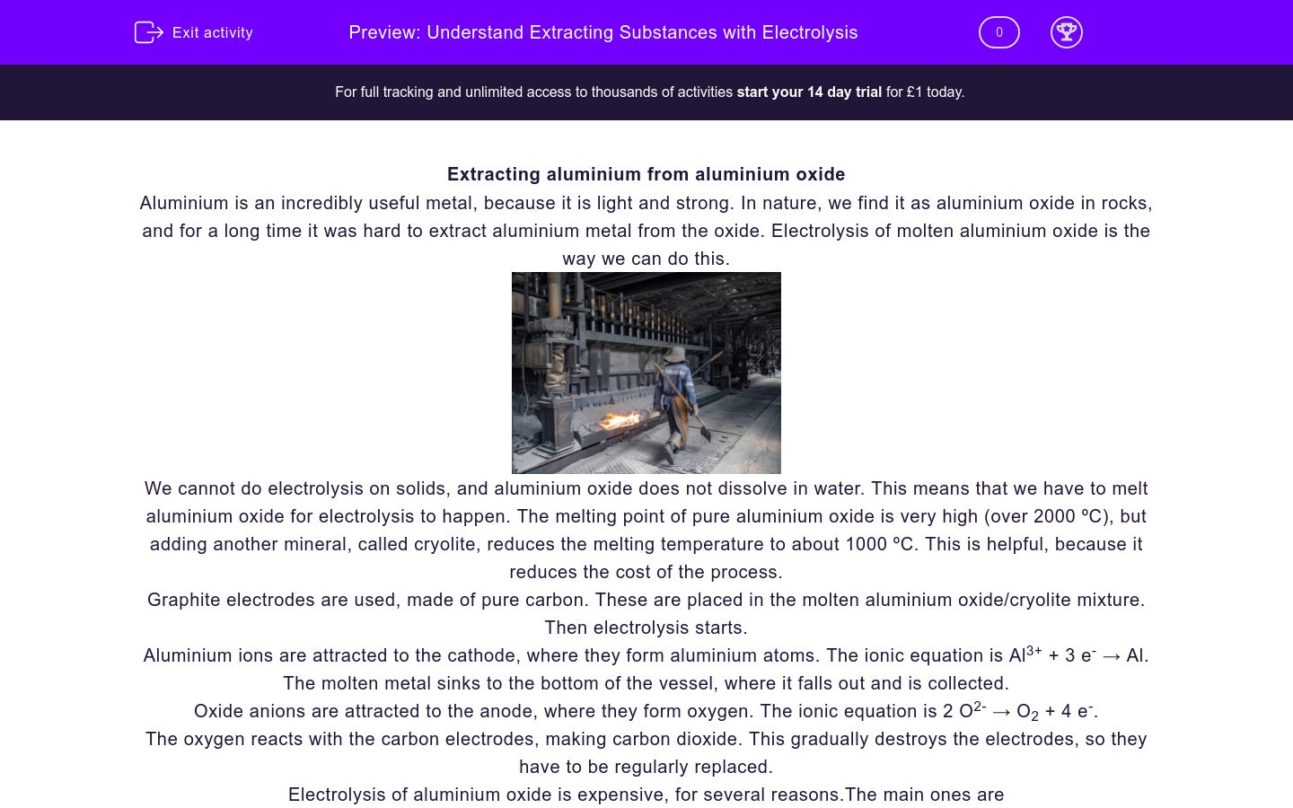'Understand Extracting Substances with Electrolysis' worksheet