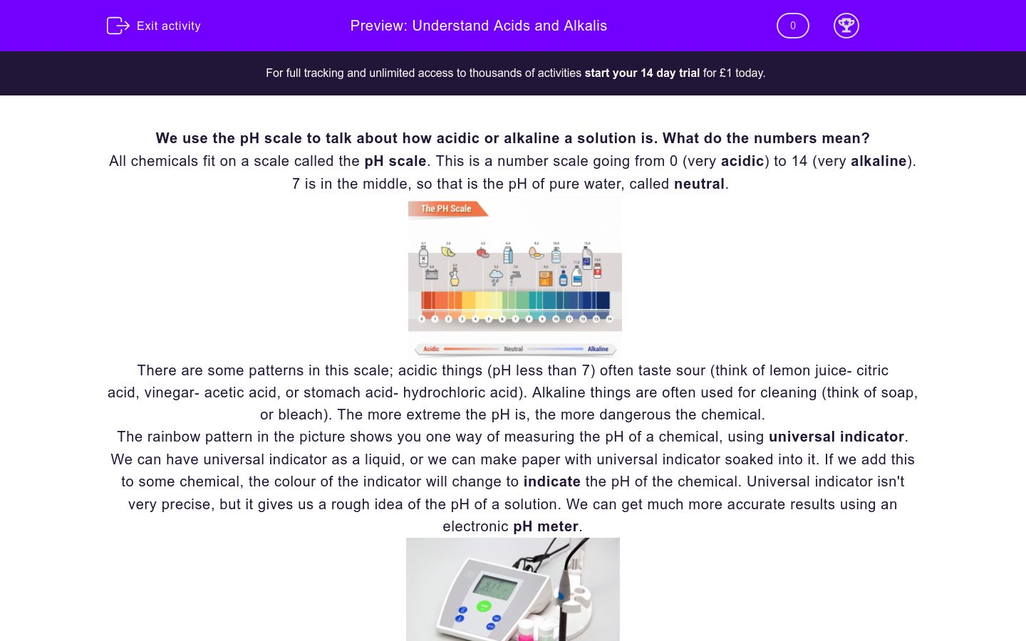 'Understand Acids and Alkalis using the pH Scale' worksheet