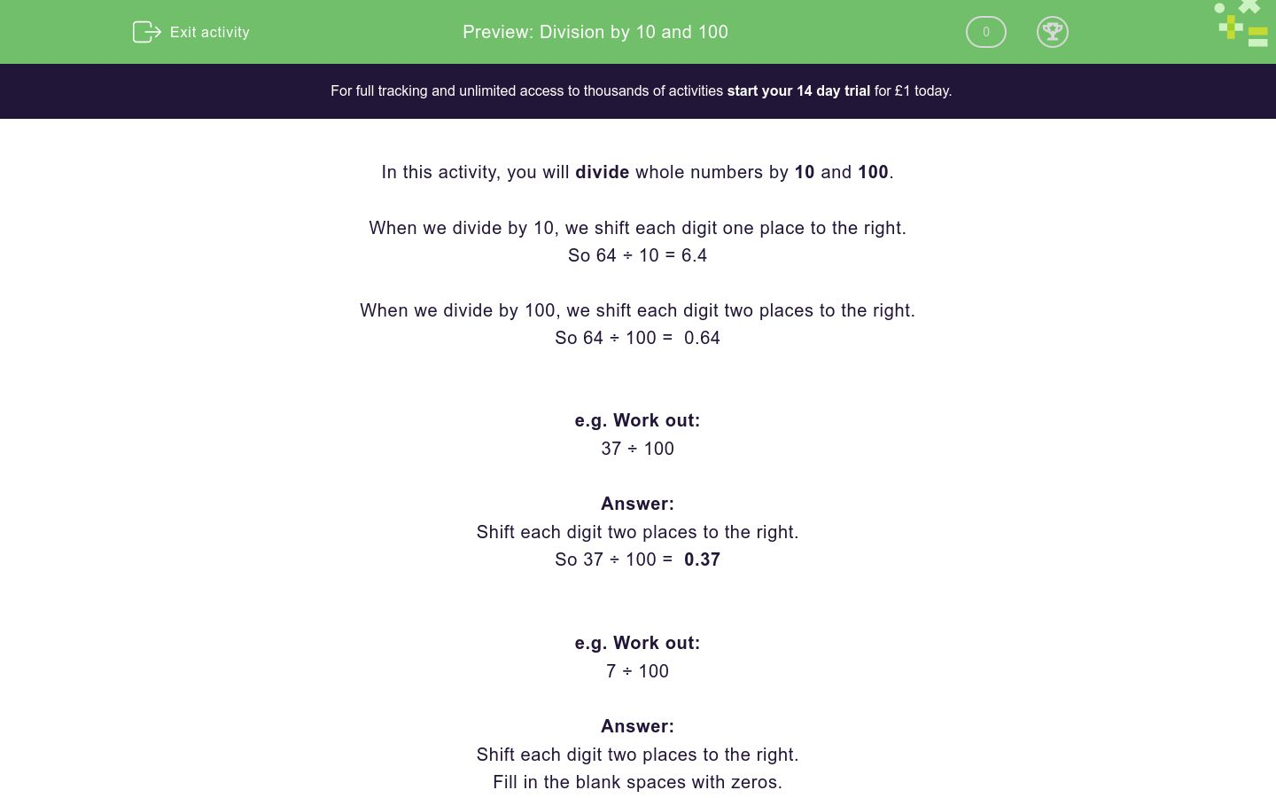 'Division by 10 and 100' worksheet