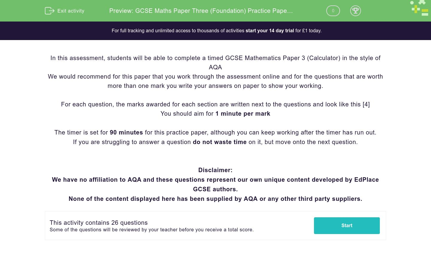 'GCSE Maths Paper Three (Foundation) Practice Paper in the Style of AQA - Calculator' worksheet