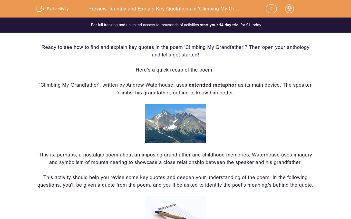 'Identify and Explain Key Quotations in 'Climbing My Grandfather'' worksheet