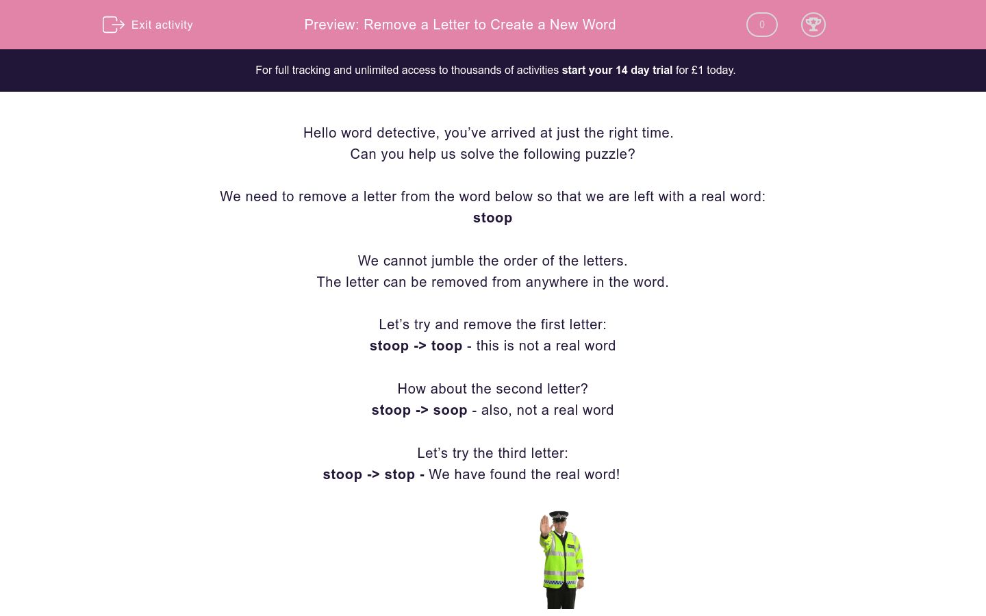 'Remove a Letter to Create a New Word' worksheet