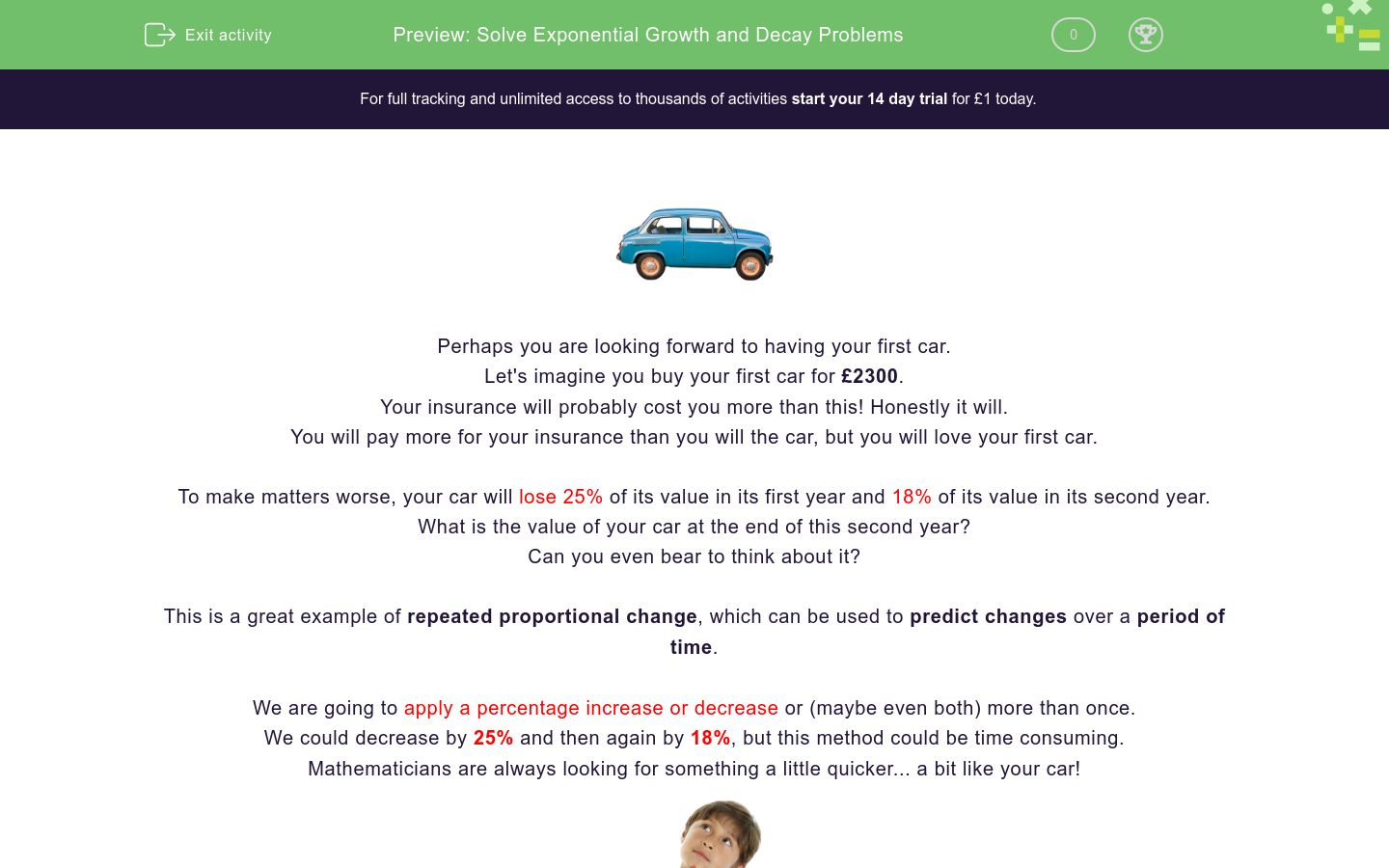 'Solve Exponential Growth and Decay Problems' worksheet