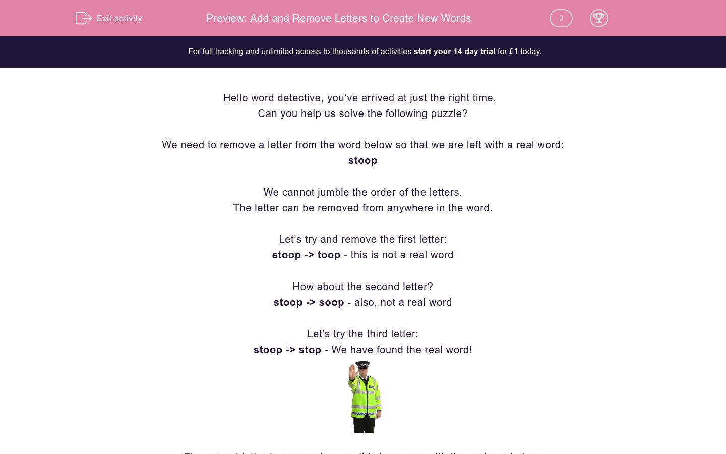 'Add and Remove Letters to Create New Words' worksheet
