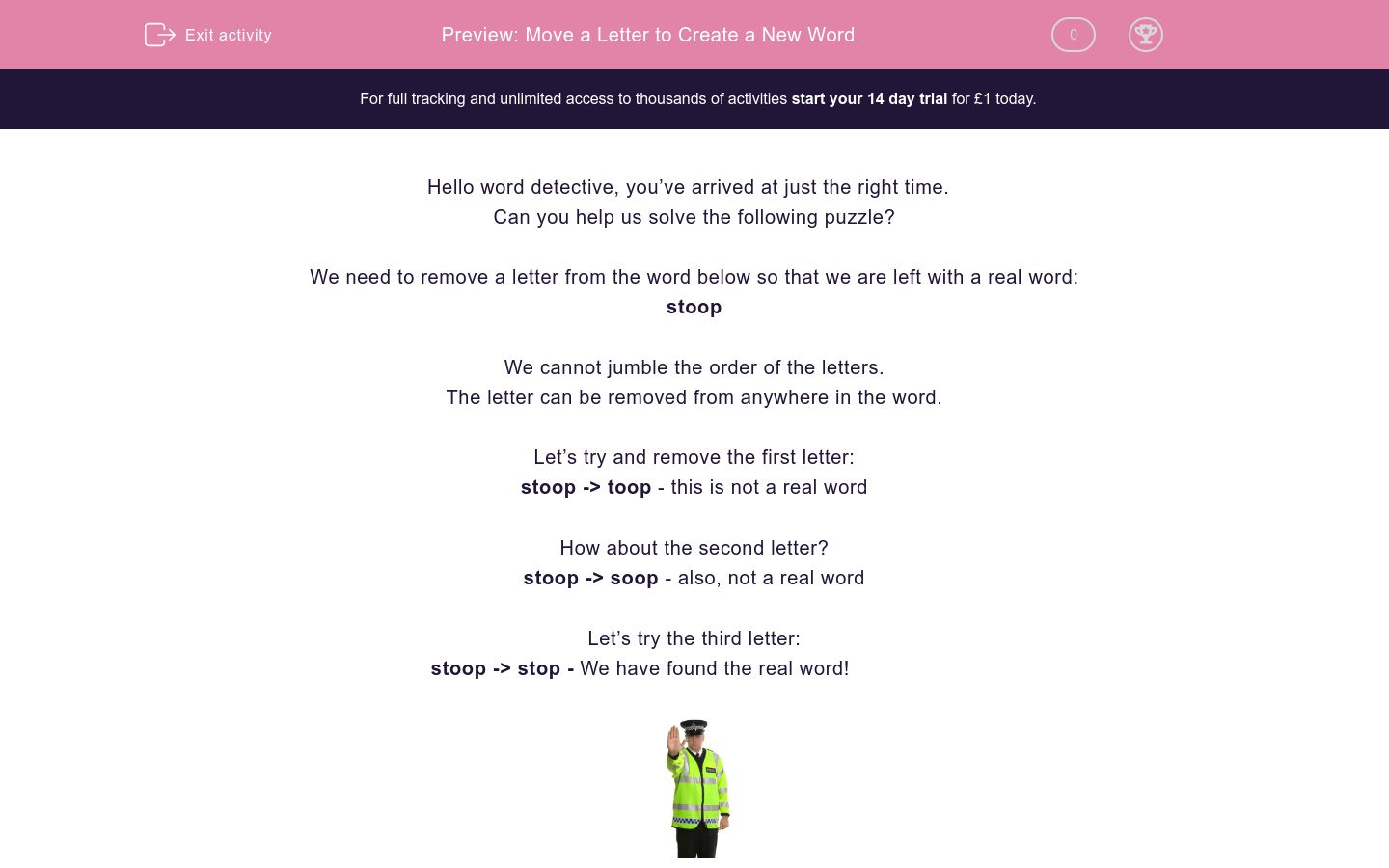 'Move a Letter to Create a New Word' worksheet