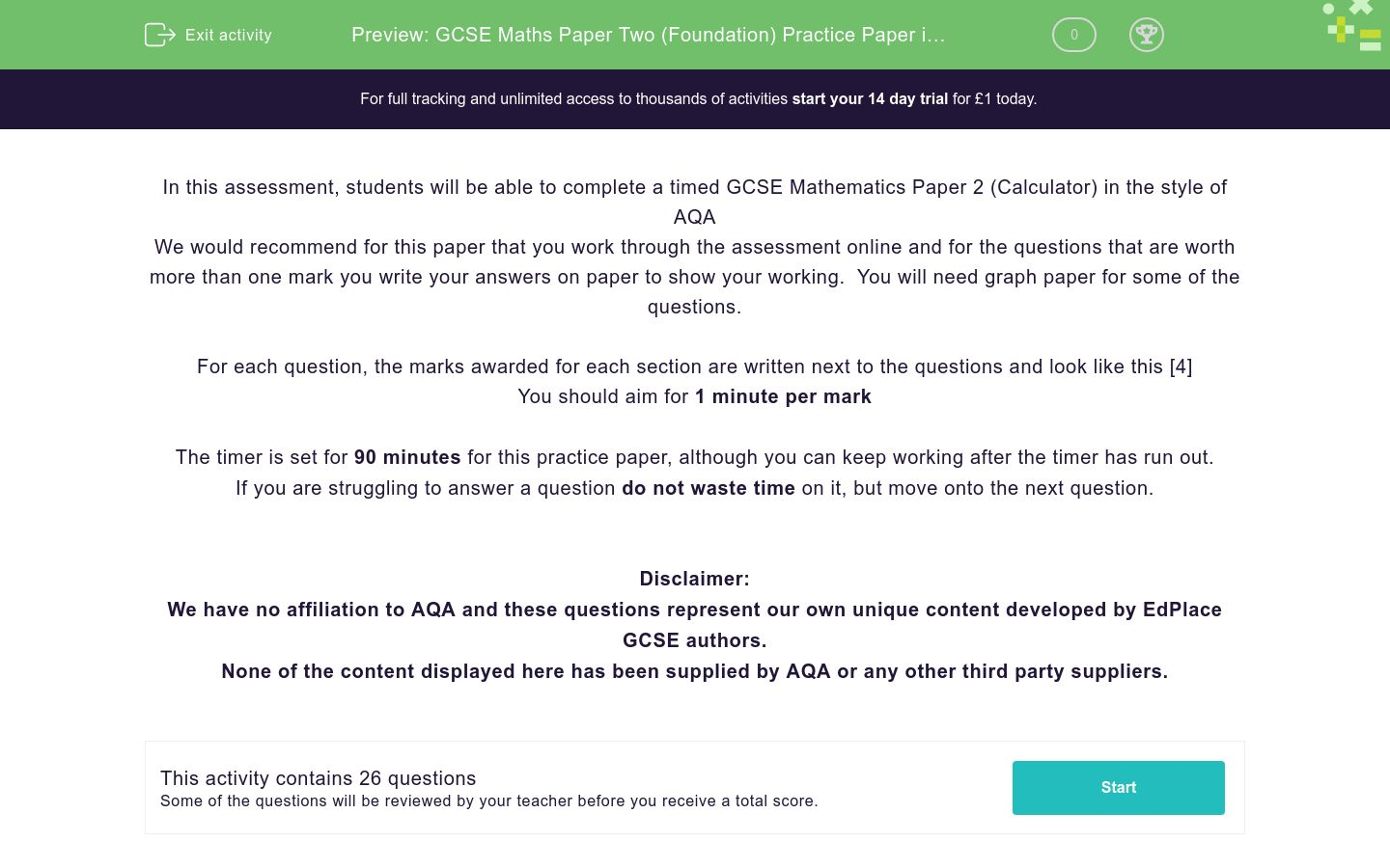 'GCSE Maths Paper Two (Foundation) Practice Paper in the Style of AQA - Calculator' worksheet