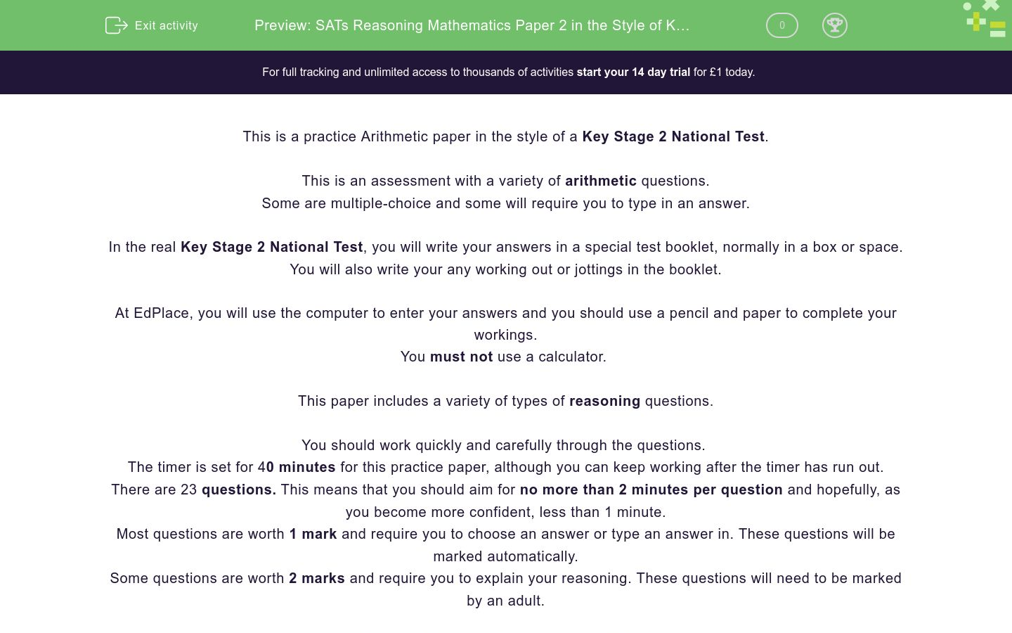 'SATs Reasoning Mathematics Paper 2 in the Style of Key Stage 2 National Tests (Practice 1)' worksheet