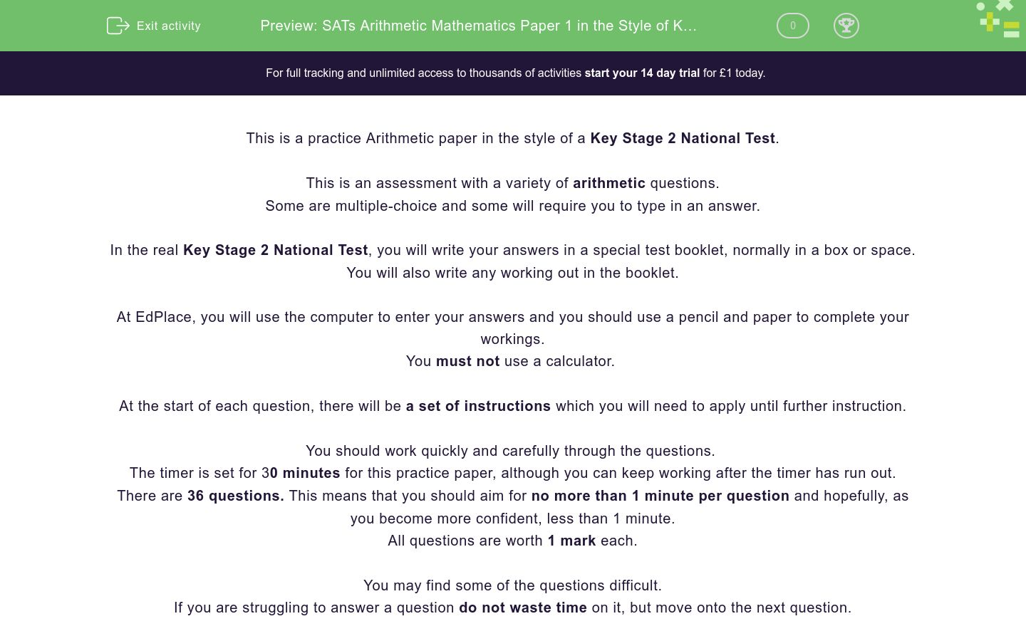 'SATs Arithmetic Mathematics Paper 1 in the Style of Key Stage 2 National Tests (Practice 1)' worksheet