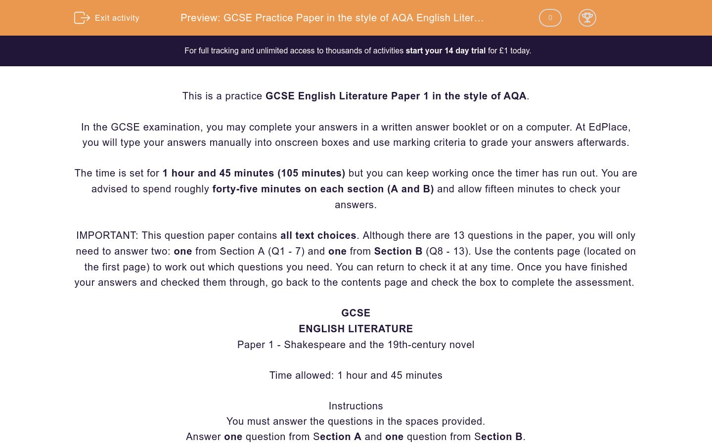 'GCSE Practice Paper in the style of AQA English Literature Paper 1' worksheet