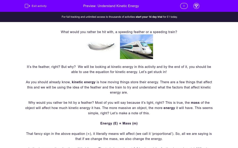 'Understand Kinetic Energy' worksheet