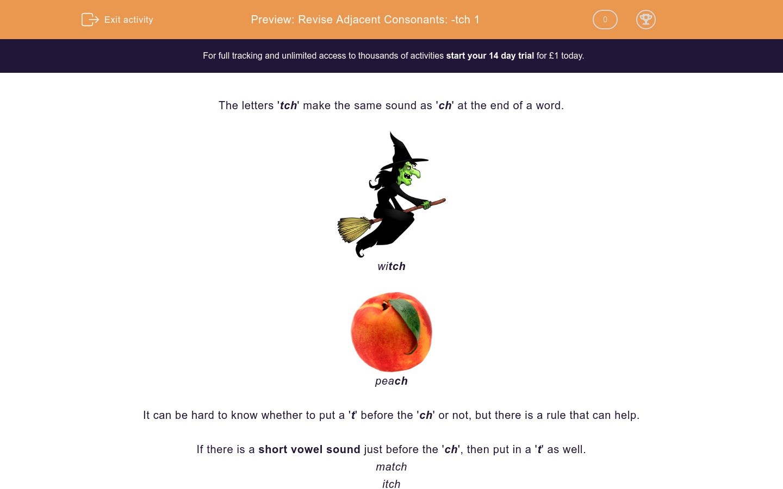 'Revise Adjacent Consonants: -tch 1' worksheet