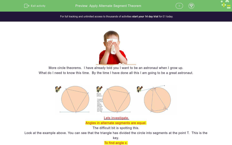 'Apply Alternate Segment Theorem' worksheet