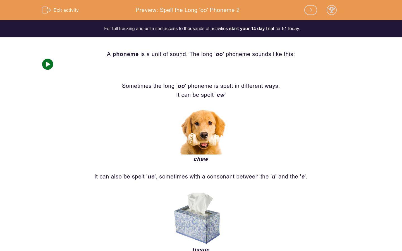 'Spell the Long 'oo' Phoneme 2' worksheet