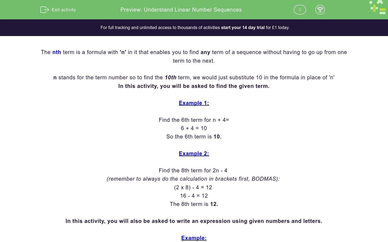 'Understand Linear Number Sequences' worksheet