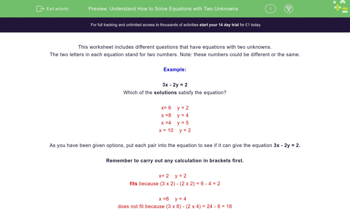 'Understand How to Solve Equations with Two Unknowns' worksheet