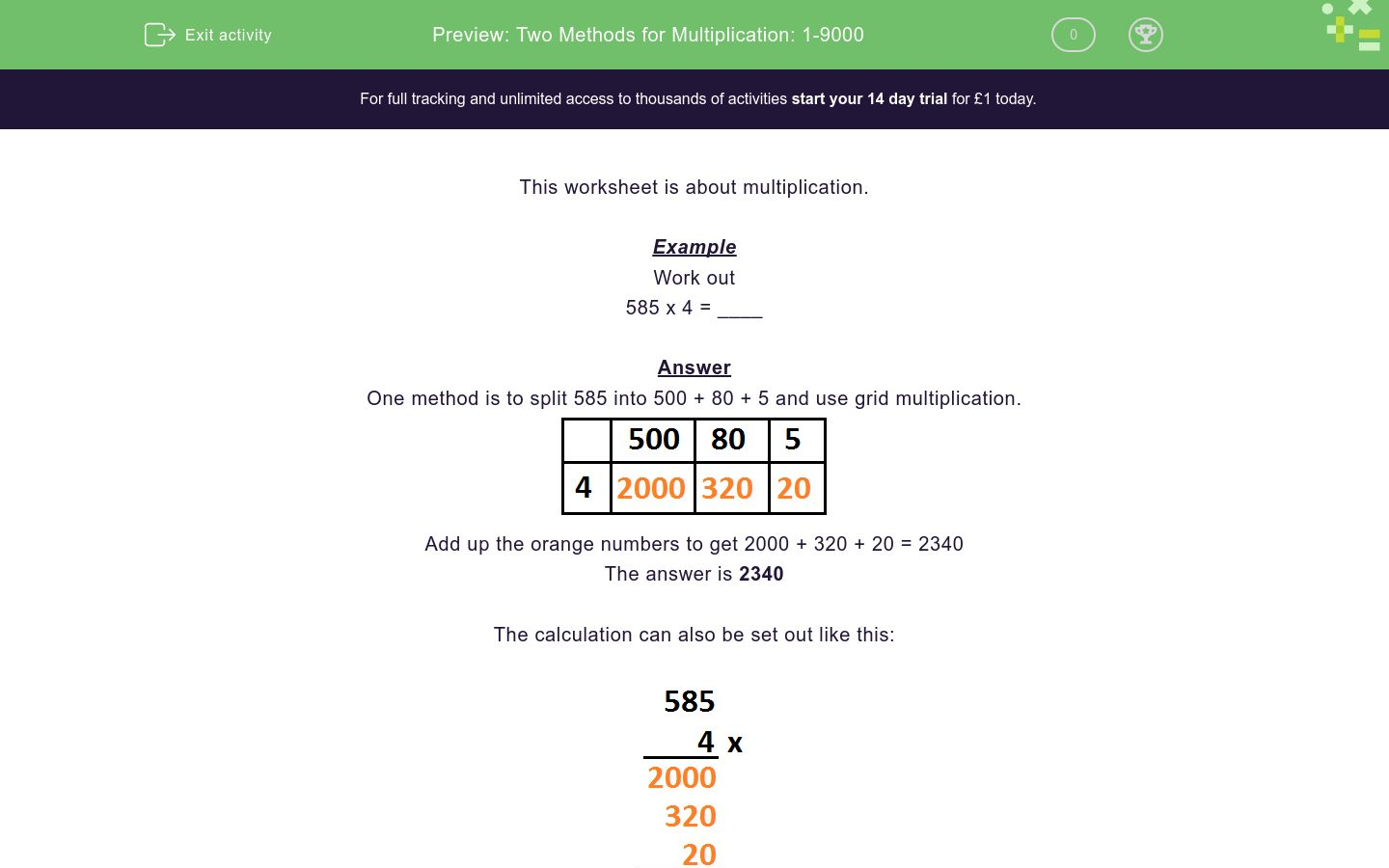'Two Methods for Multiplication: 1-9000' worksheet