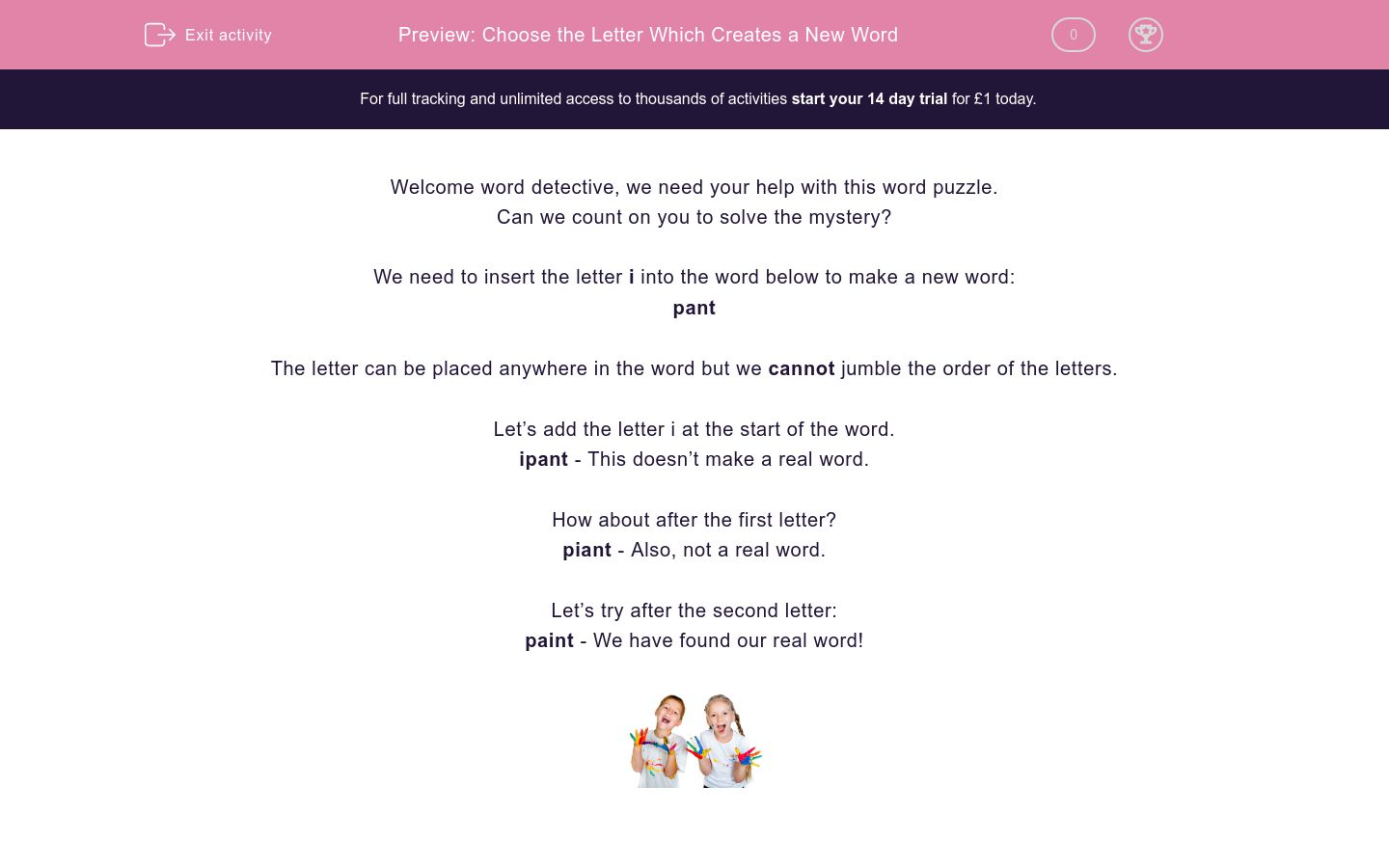 'Choose the Letter Which Creates a New Word' worksheet
