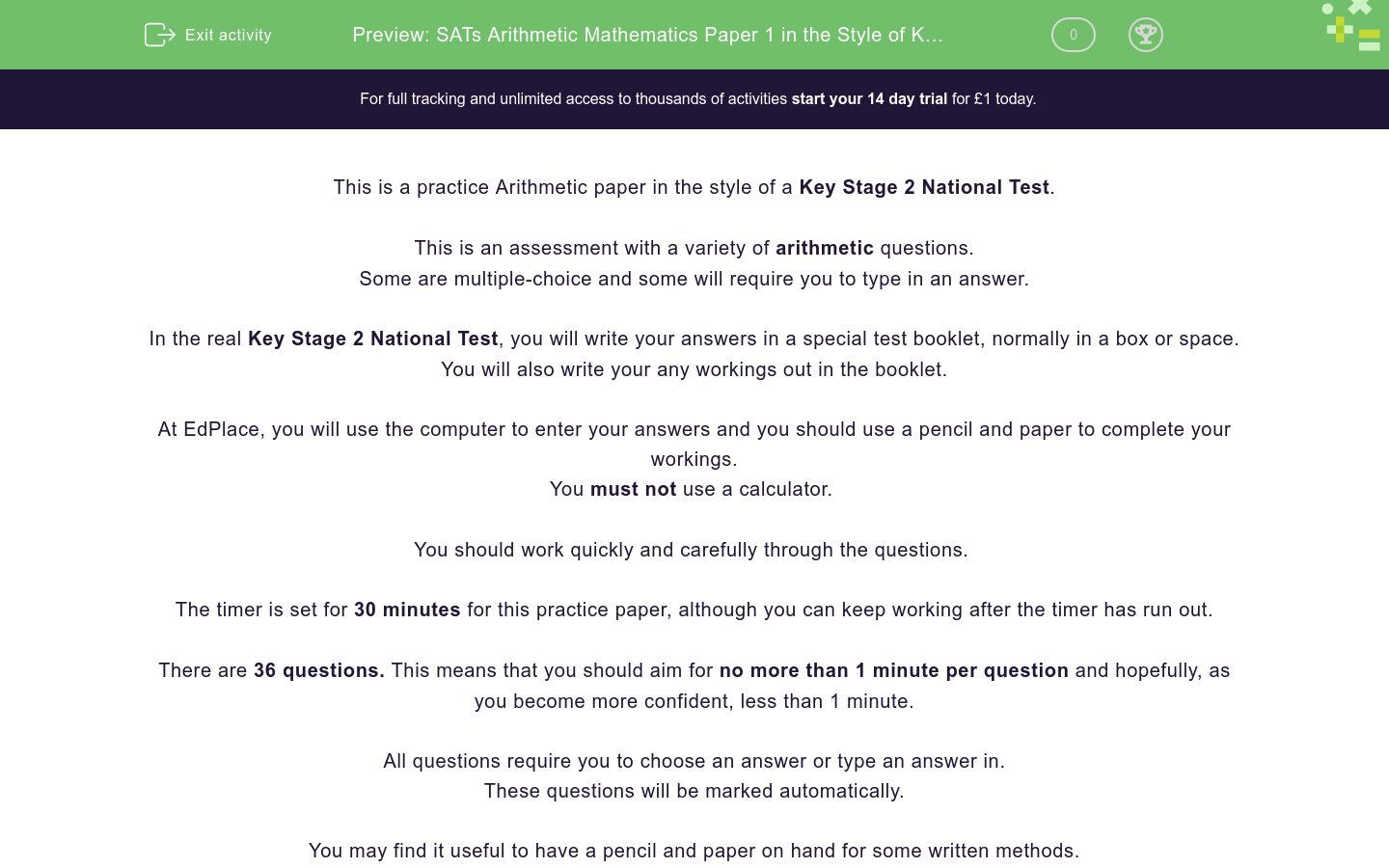 'Arithmetic Mathematics Paper 1 in the Style of Key Stage 2 National Tests. ' worksheet