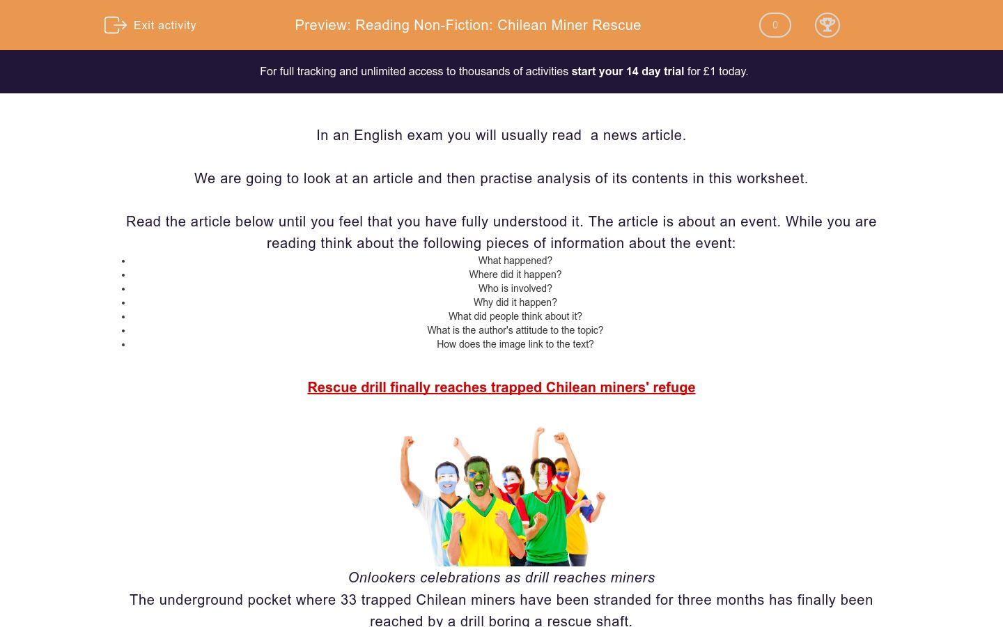 'Reading Non-Fiction: Chilean Miner Rescue' worksheet