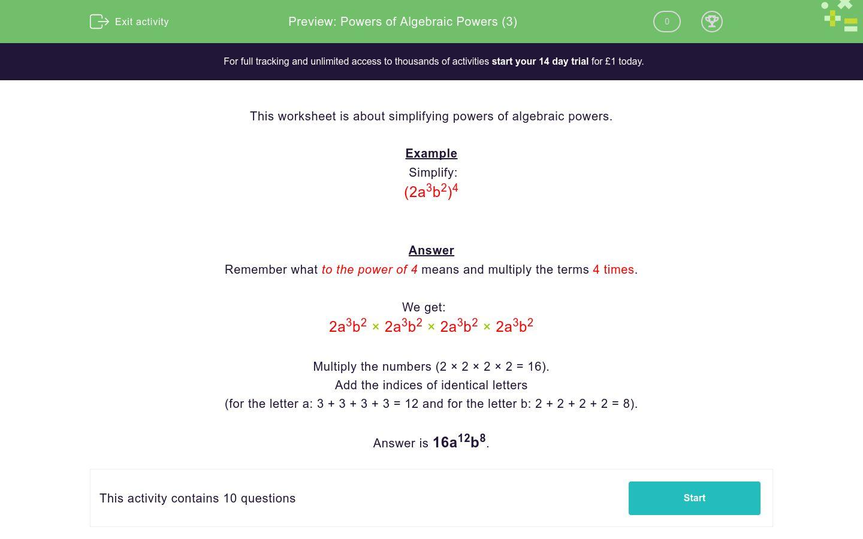 'Powers of Algebraic Powers (3)' worksheet