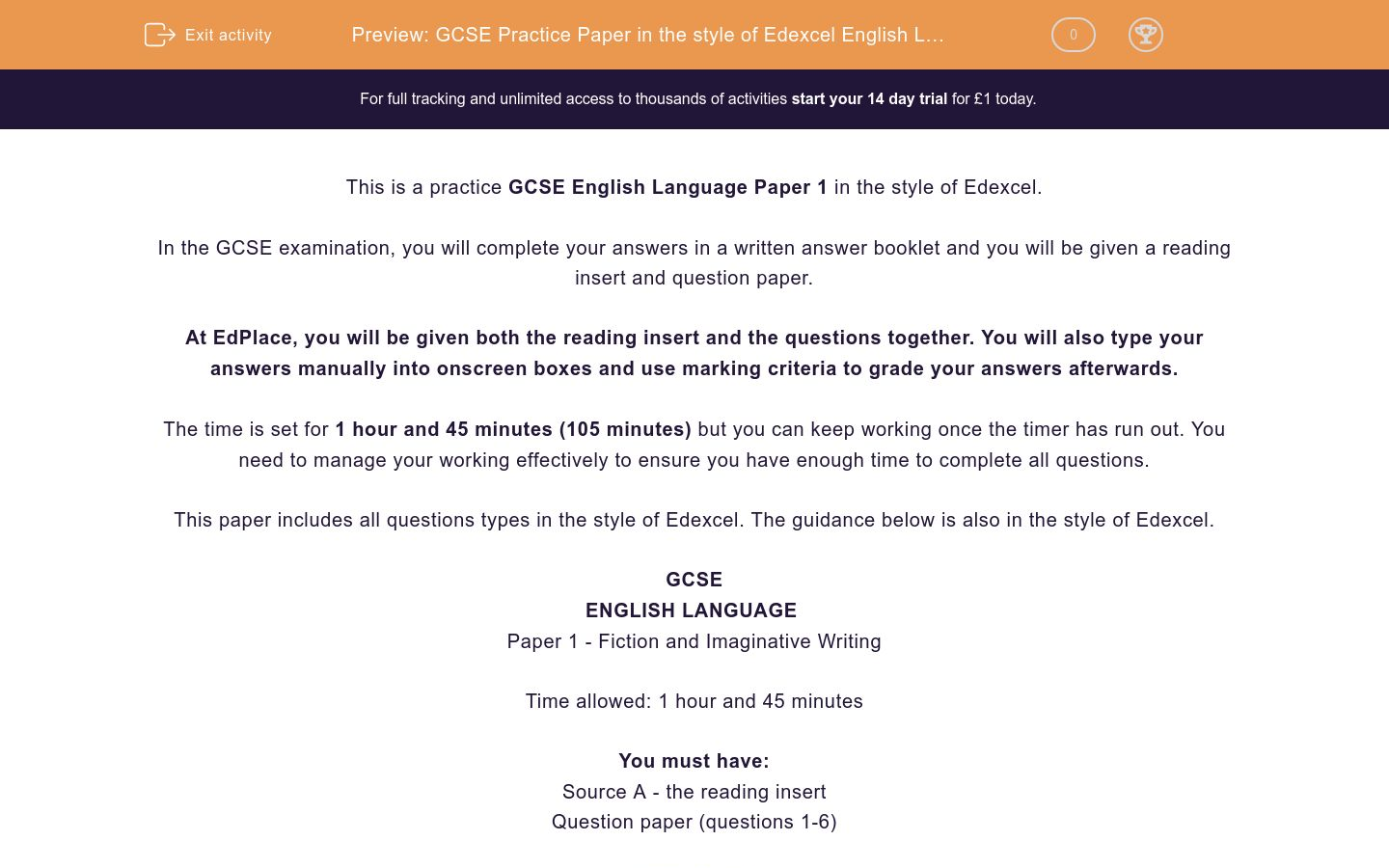 'GCSE Practice Paper in the style of Edexcel English Language Paper 1' worksheet