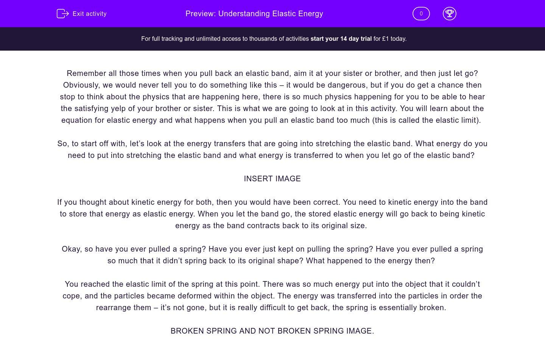 'Understand Elastic Energy' worksheet