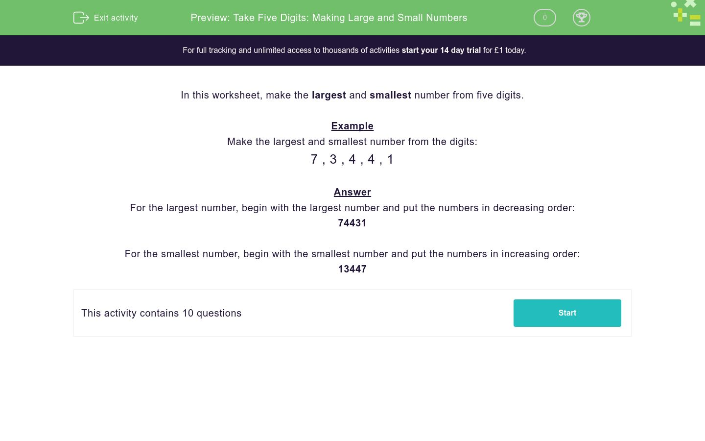 'Take Five Digits: Making Large and Small Numbers' worksheet