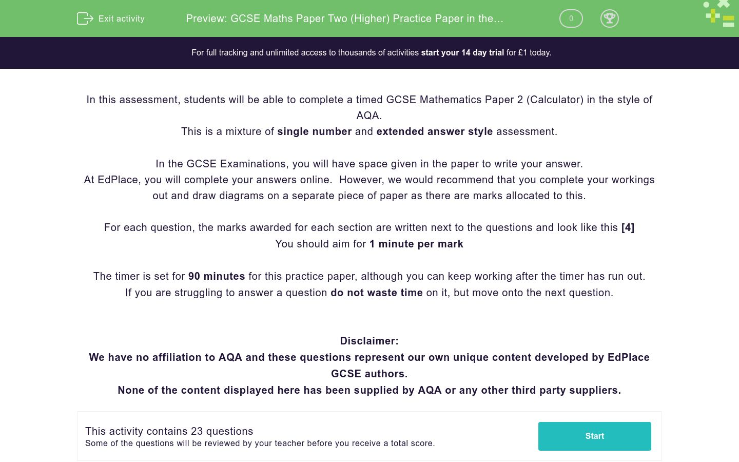 'GCSE Maths Paper Two (Higher) Practice Paper in the Style of AQA - Calculator' worksheet