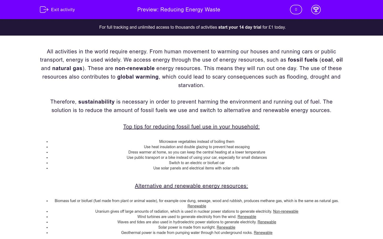 'Reducing Energy Waste' worksheet